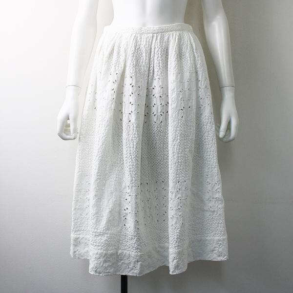 美品 Lisette リゼッタ コットンカットワークレース フレアスカート 36/ホワイト【2400011736697】