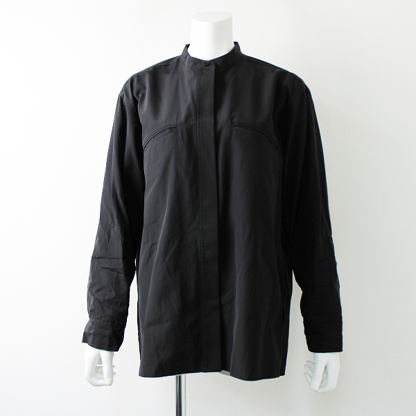STUNNING LURE スタニングルアー コットンバックスリットワイドノーカラーシャツ 1/ブラック ビッグシルエット【2400011738691】