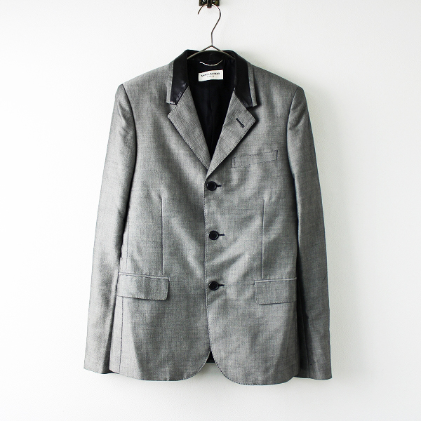 【スプリングセール】国内正規品 メンズ Saint Laurent Paris サンローラン パリ 2012 レザー切替 テーラード ジャケット 44///グレー【2400011739292】