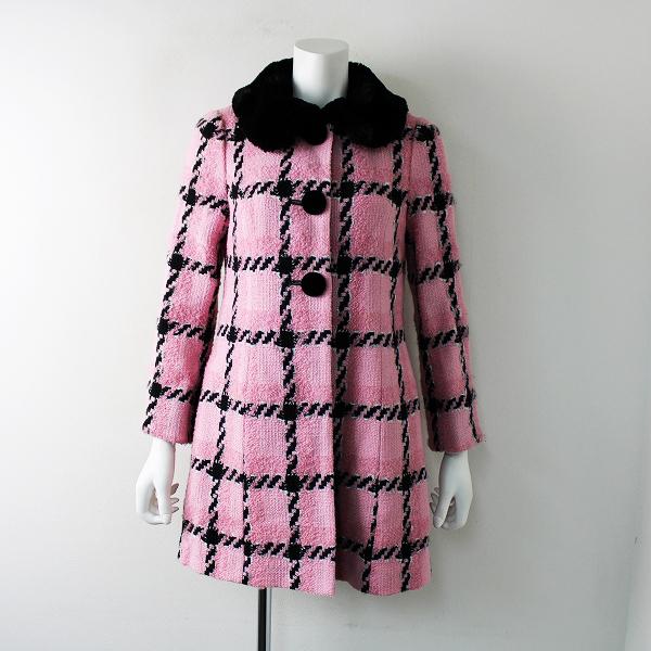 2018年AW カタログ掲載品 M'S GRACY エムズグレイシー Pink X Black Coat ロービング ファー付 ツイード コート 36///【2400011739308】
