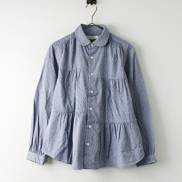 MORIKAGE SHIRT KYOTO モリカゲシャツ キョウト 丸襟 ギャザーシャツ SS/ブルー ブラウス【2400011748461】