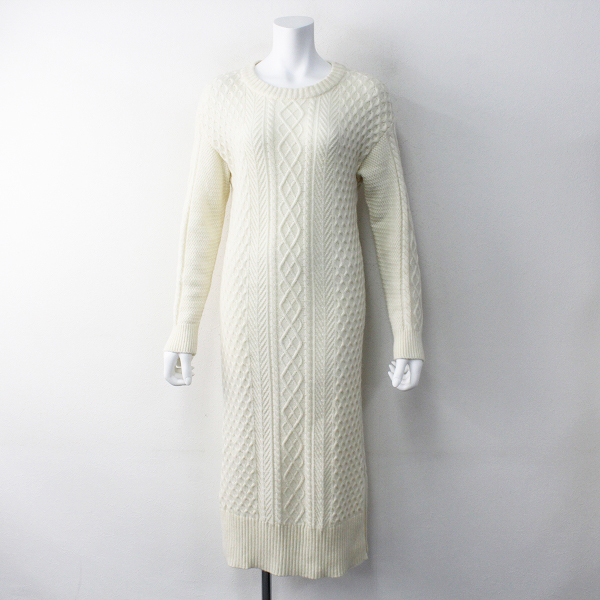 nano universe Genuine Couture ナノユニバース サイドスリット ケーブルニットワンピース 36/オフホワイト【2400011749116】