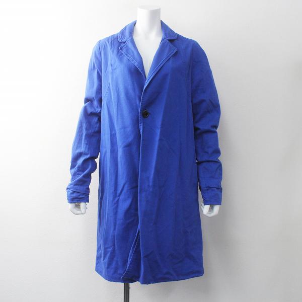 Yarmo ヤーモ 染色加工 ロング ワーク コート /ブルー ステンカラーコート イギリス製【2400011750150】