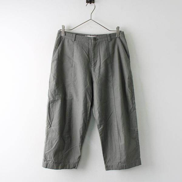 2017SS 定価2.4万 evam eva エヴァムエヴァ E171T020 back satin cropped pants クロップドパンツ 1/カーキ系 ボトムス【2400011751027】