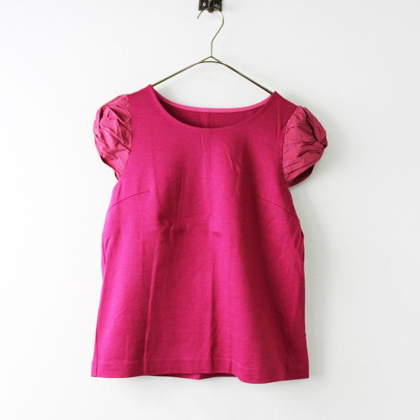 STRAWBERRY-FIELDS ストロベリーフィールズ バルーンスリーブ切替 半袖TシャツF/ピンク トップス【2400011752178】