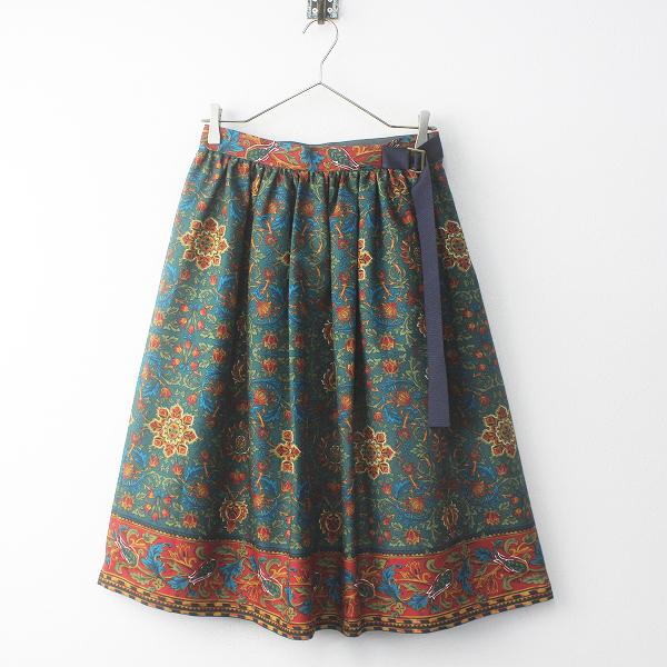 新品同様 2016秋冬 Lois CRAYON ロイスクレヨン ペルシャアートプリントスカート M/28年製【2400011753137】