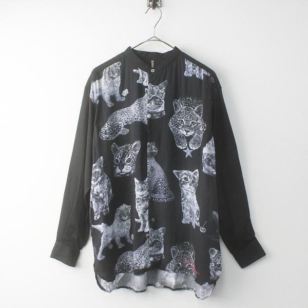 2019SS コレクション 定価2.2万 メンズ FRAPBOIS フラボア Ryan Su ライアンスー ネコ柄 バンドカラー シャツ 2/ブラック【2400011755018】