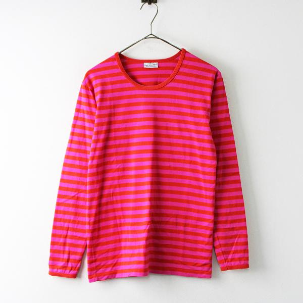 marimekko マリメッコ ボーダーロングスリーブTシャツ S/レッド ピンク カットソー 長袖【2400011758330】