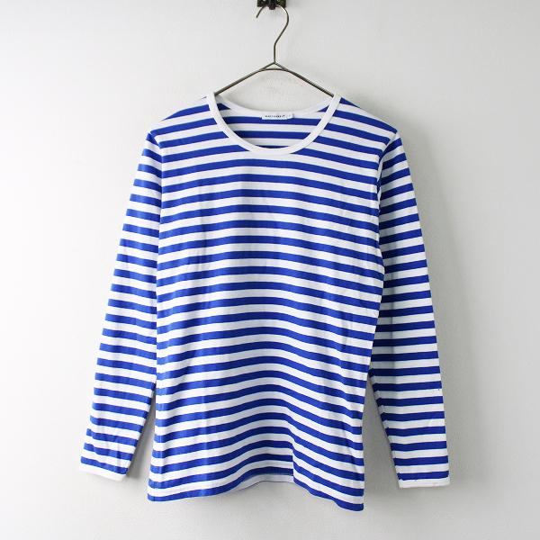 marimekko マリメッコ ボーダーロングスリーブTシャツ XS/ブルー ホワイト カットソー 長袖 コットン【2400011758347】