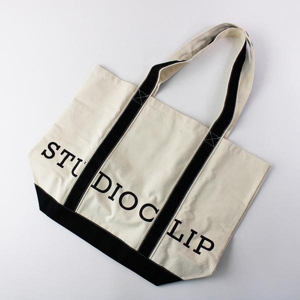 studioCLIP スタジオクリップ キャンバスロゴビックトートバッグ /ブラック×ベージュ 手提げ ハンドバッグ カバン 【2400011760685】