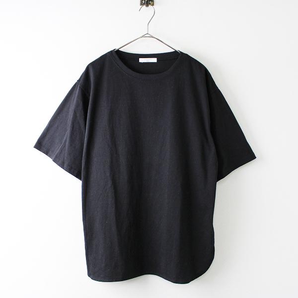 SM2 blue サマンサモスモス ブルー オーバーサイズ クルーネック Tシャツ F/ブラック トップス【2400011761705】