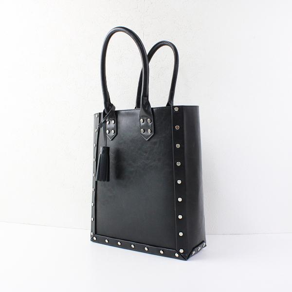 casselini キャセリーニ 鋲打ち レザー トートバッグ/ブラック 鞄 小物 【2400011764027】