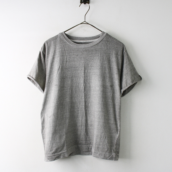 MARGARET HOWELL MHL. マーガレットハウエル 染色加工 コットンクルーネックTシャツ 2/グレー プルオーバー トップス【2400011768216】