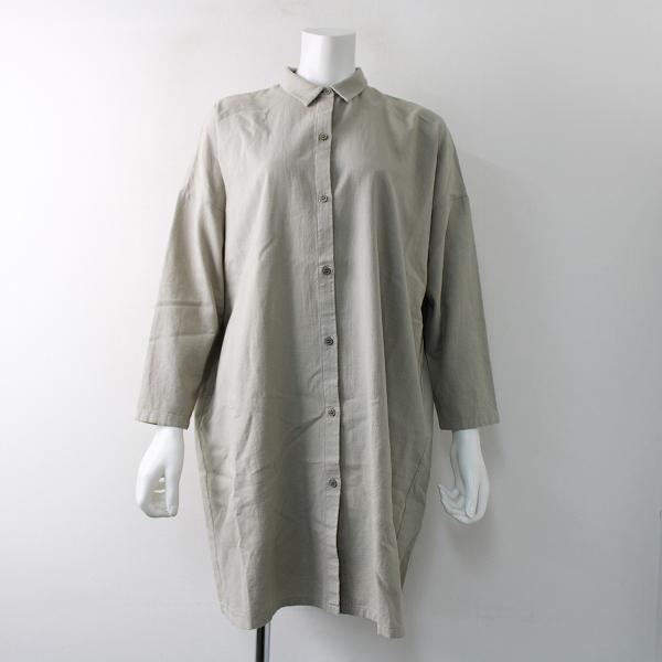 美品 定価2.8万 2020SS evam eva エヴァムエヴァ cotton wool square shirt tunic シャツチュニック/ストーングレー【2400011770622】