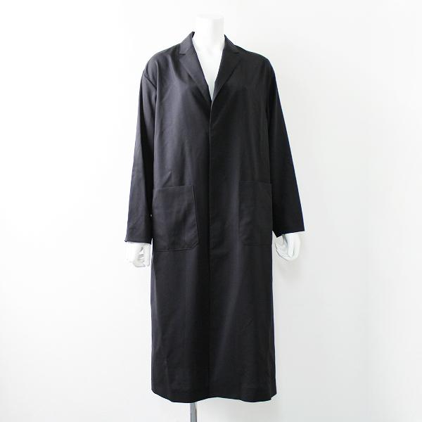 2018 HYKE ハイク サマーウールショップコート 2/ブラック アウター 薄手ブルゾン ロング丈【2400011772480】