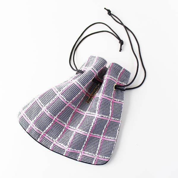 美品 人気 Charmant sac シャルマントサック リントンツイード 巾着バッグ/ピンク ホワイト【2400011772886】