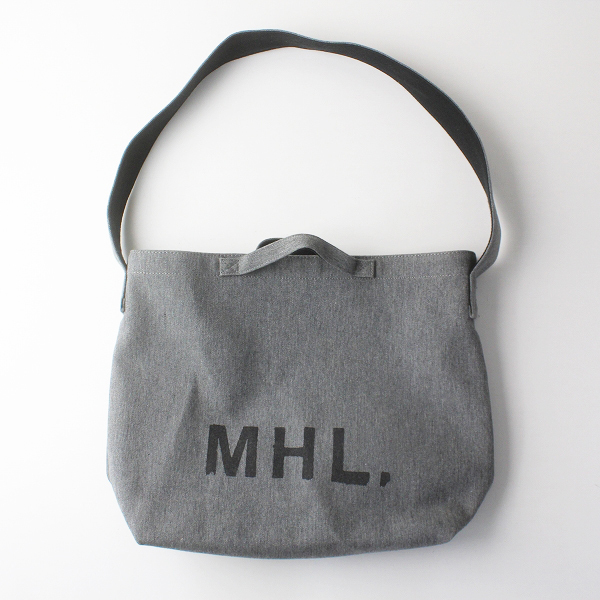 MARGARET HOWELL MHL. マーガレットハウエル コットンウール ロゴ ショルダーバッグ/グレー 2way【2400011775092】