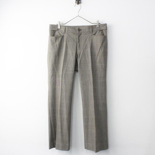大きいサイズ NEWYORKER ニューヨーカー グレンチェック センタープレス パンツ 15/ブラウン【2400011778215】