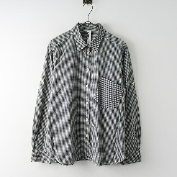 MARGARET HOWELL MHL. マーガレットハウエル コットンギンガムチェックシャツ 3/ブラック トップス【2400011780225】