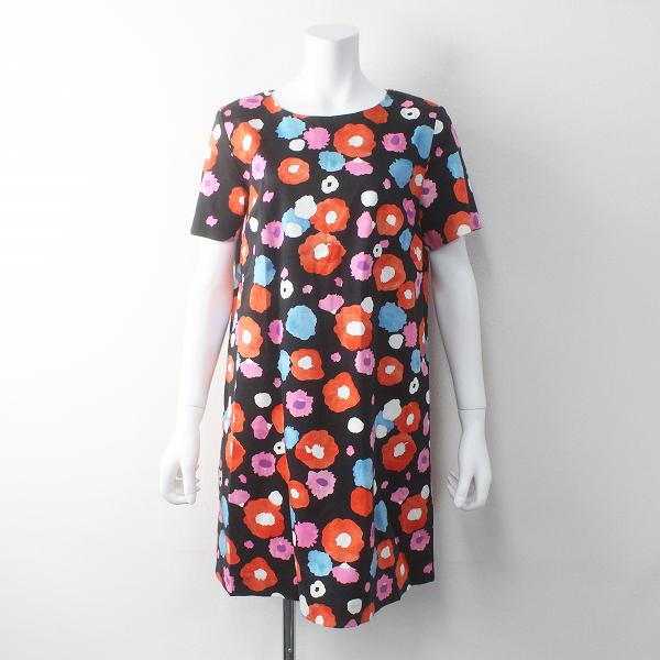 marimekko マリメッコ FIONA ハーフスリーブ ワンピース 36/ブラック 花柄 フラワー【2400011784452】