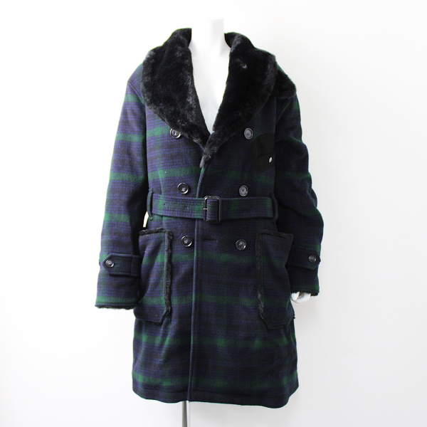 未使用品 定12.5万 2019AW WOOLRICH ウールリッチ BEAMS PLUS 別注 Mackinaw Faux Fur Collar Coat Black Watch S【2400011784759】