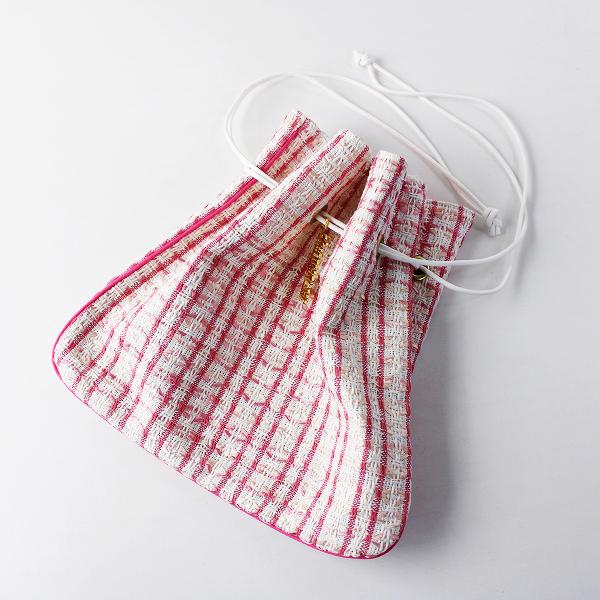 美品 人気 Charmant sac シャルマントサック リントンツイード 巾着バッグ/ピンク ホワイト【2400011785978】