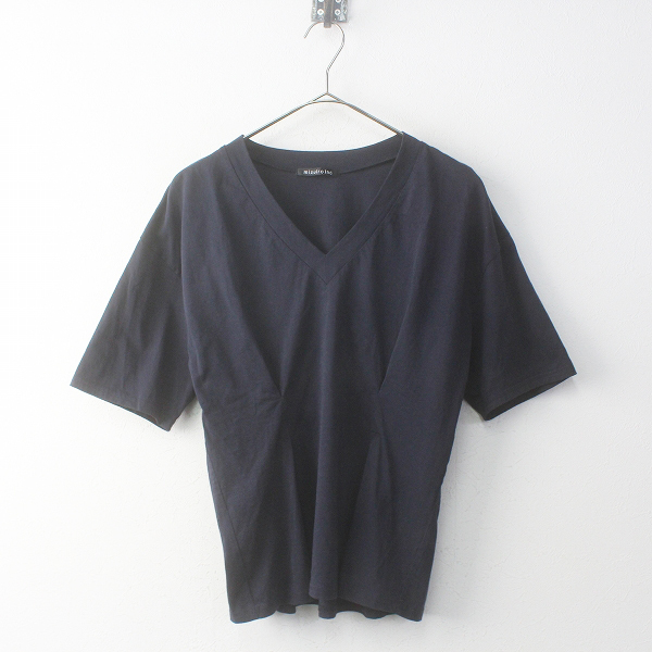 mizuiro ind ミズイロインド コットンVネックギャザーカットソー /ネイビー ブラウス Tシャツ トップス【2400011789228】