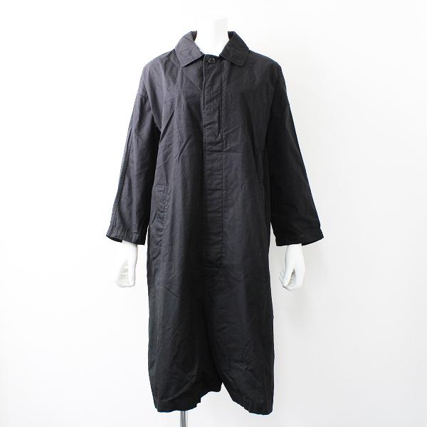 【期間限定20%OFF】bisque by nest robe ビスクバイネストローブ コットン 比翼ボタン ステンカラーコートFREE/ブラック【2400011789792】