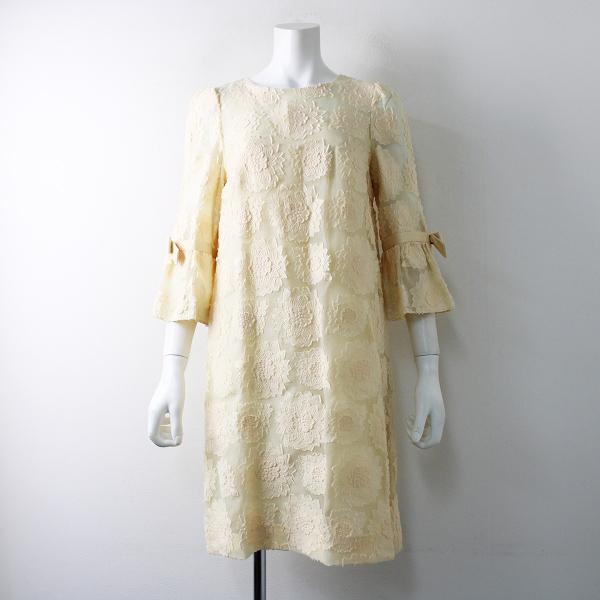 M'S GRACY エムズグレイシー ビッグフラワージャガード 袖リボンワンピース38/ベージュ 花柄 ドレス【2400011790521】