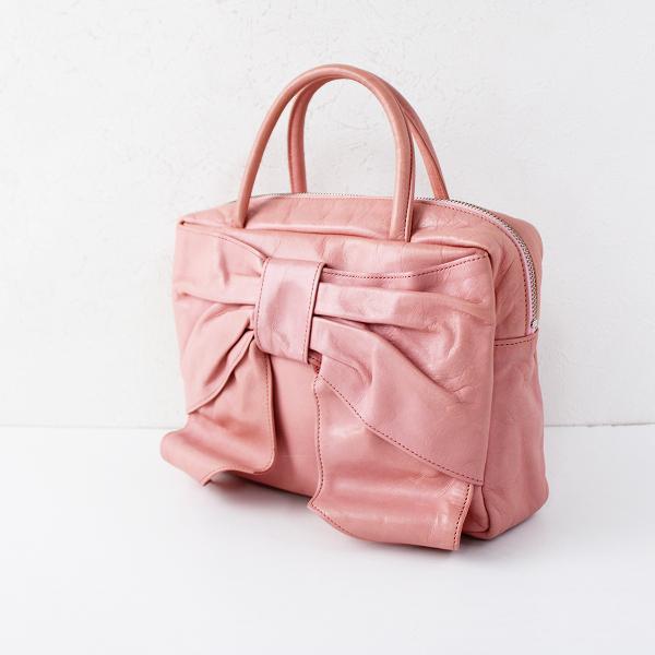Jane Marple ジェーンマープル リボンハンドバッグ /ピンク ジップ エナメル 手提げ ミニ 小物【2400011793973】