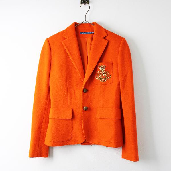 【期間限定30%OFF】RALPH LAUREN ラルフローレン 縮絨ウール テーラードジャケット 2/オレンジ エンブレム刺繍【2400011796547】