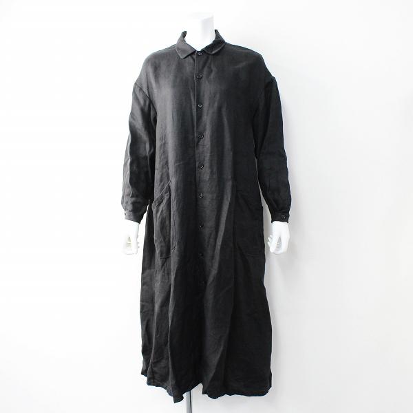 2019SS 定価4.6万 YAECA ヤエカ リネンワークシャツドレス M/ブラック ロング ステンカラー コート【2400011796752】