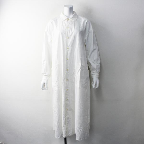 定価3.5万 YAECA ヤエカ コットンワークシャツドレス M/ホワイト ワイド ロング【2400011796837】