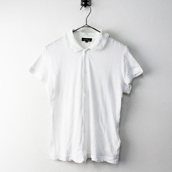 AD2015 tricot COMME des GARCONS トリココムデギャルソン サークル刺繍 丸襟 コットンシャツ M/ホワイト【2400011798756】