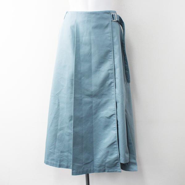 美品 2019SS ENFOLD エンフォルド シャンブレーギャバ トレンチロングスカート 38/グリーン系【2400011804259】