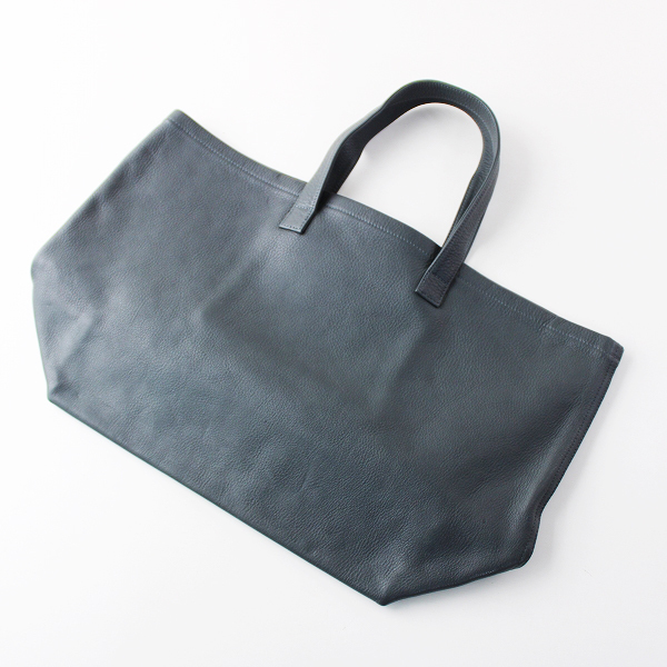 美品 大容量 MARGARET HOWELL マーガレットハウエル レザー トートバッグ/グリーングレー かばん 鞄【2400011806772】