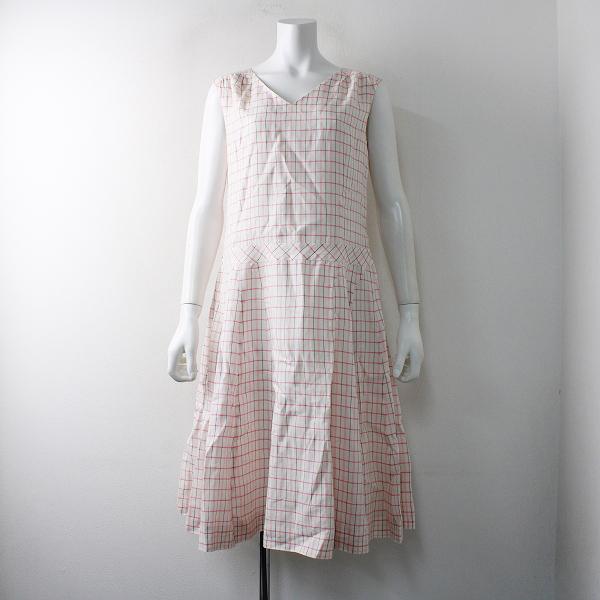 Sally Scott サリースコット チェック リネン ノースリーブ ワンピース 11AR/ホワイト ピンク【2400011807342】
