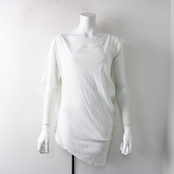 ELIN エリン 11902-13-0923 アシンメトリー Tシャツ 38/ホワイト コットン 【2400011807984】