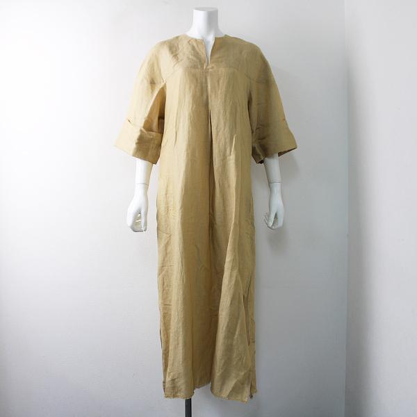 未使用品 2018SS 定価9.5万 seya. セヤ 18040450001710 orgentina dress リネン ワンピース M/ベージュ【2400011810212】