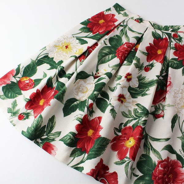 美品 希少 2016SS Lois CRAYON ロイスクレヨン レッドフラワープリントスカート M/プリーツタック 赤花柄【2400011810908】