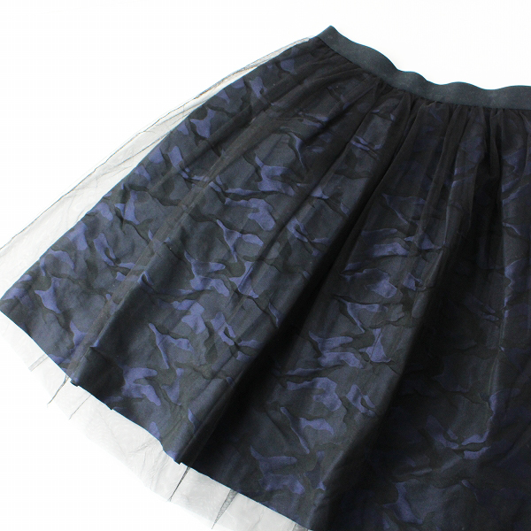 美品 Lois CRAYON ロイスクレヨン チュールドッキング カモフラジャガード スカート M/ネイビーブラック ボトムス【2400011810915】