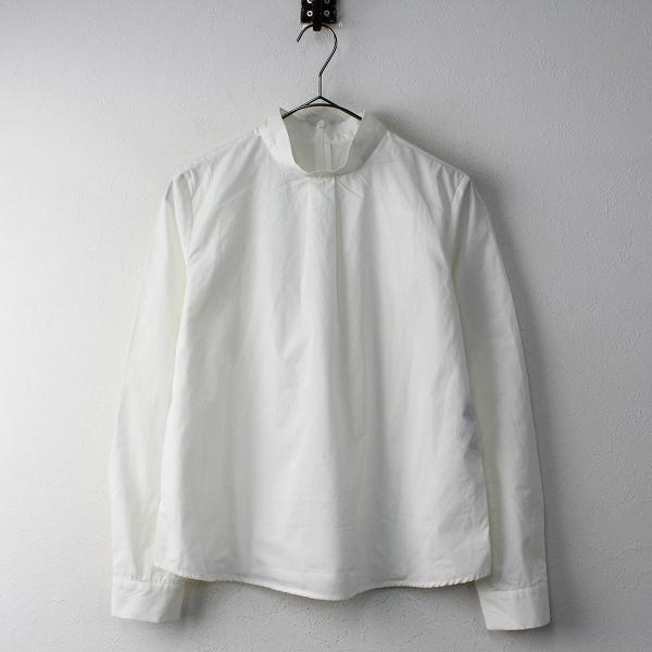 Lois CRAYON ロイスクレヨン スタンドカラー コットンプルオーバーブラウスM/ホワイトトップス シャツ【2400011810946】