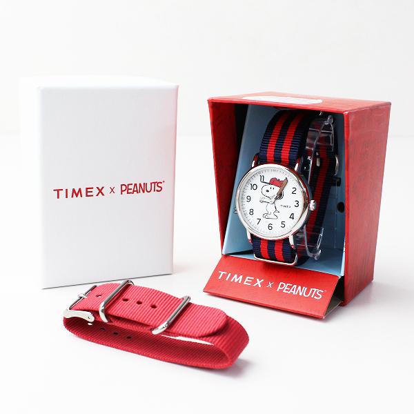 美品 Deuxieme Classe ドゥーズィエムクラス 別注 TIMEX × PEANUTS SNOOPY クォーツ 腕時計/レッド ネイビー【2400011811226】
