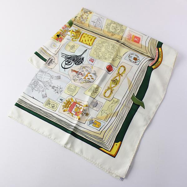 HERMES エルメス カレ90 CHIFFRES Et MONOGRAMMES・ANNEE 1886 大判 シルクスカーフ/アイボリー【2400011812698】