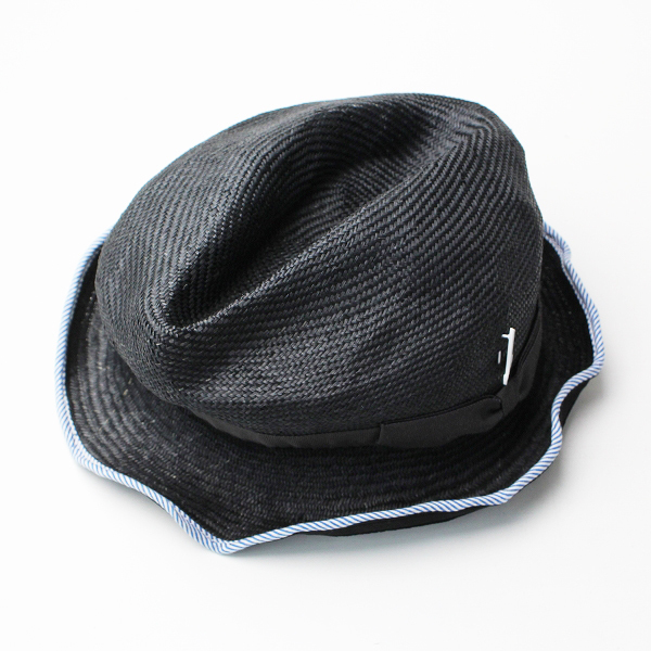 【期間限定30%OFF】Muhlbauer ミュールバウアー ストライプトリム ペーパー ハット/ブラック 小物 帽子【2400011812865】