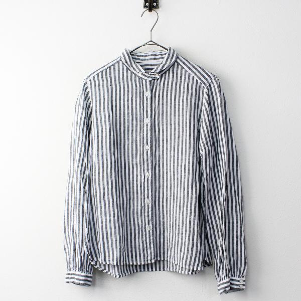 nest Robe ネストローブ リネン ストライプ シャツ/ホワイト×グレー トップス【2400011812902】