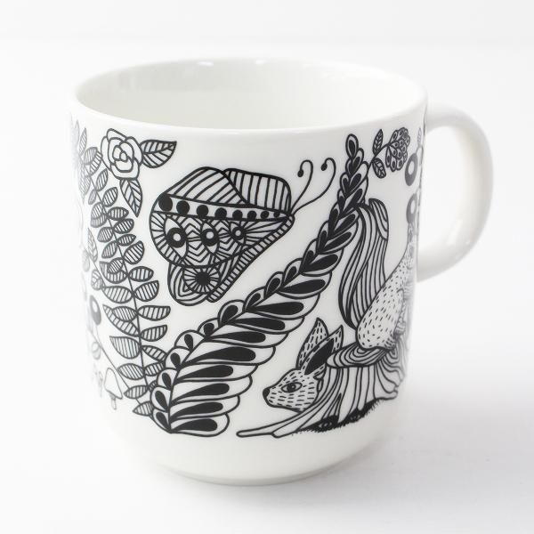 美品 ARABIA アラビア Piilopaikka ピーロパイッカ マグカップ/ホワイト ブラック 北欧 食器【2400011814647】