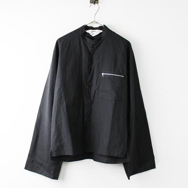 美品 2018SS 春夏 定価3.4万 SUNSEA サンシー 18S36 Linen Bomber Shirt 2/ブラック リネンボンバーシャツ【2400011815064】