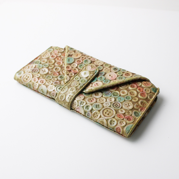 HIROKO HAYASHI ヒロコ ハヤシ ボタン 型押し レザーロングウォレット /ベージュ系 長財布 小物【2400011815316】