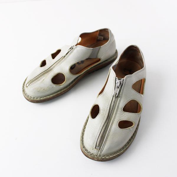 trippen トリッペン レザー フロントジップ サンダル 35/ライトグレー 靴 くつ フラット【2400011815385】